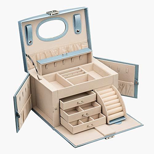 ADEL DREAM Joyero de cuatro capas con colgantes, collares, compartimentos de espejo y espacios de almacenamiento (azul)