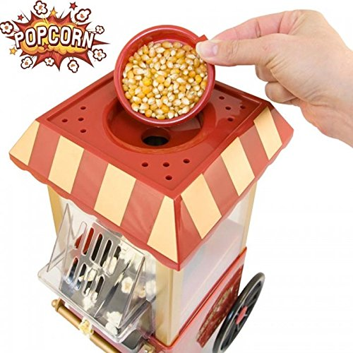 Bakaji Carretto Macchina Pop Corn Elettrica Aria Calda Senza Olio Popcorn Maker Professionale 1200W Design Retrò Luna Park Vintage per Feste Party Cinema Bambini Elettrodomestici Cucina