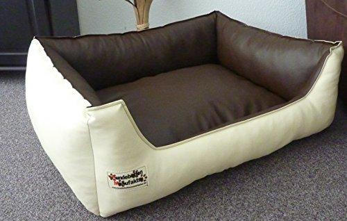 Hundebett Hundesofa Schlafplatz Kunstleder Similpelle Farbe und Größe wählbar von XS bis XXL (80 cm X 60 cm, Creme braun)