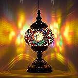Lámpara marroquí turca, hecha a mano, con mosaico, para mesa de cristal, escritorio, mesita de noche, salón, dormitorio, mesa baja (rojo)