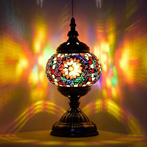 Lámpara marroquí turca hecha a mano con mosaico de cristal para escritorio,...
