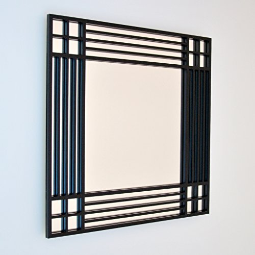 DECOHOGAR.SHOP Miroir Mural carré - Corners Croix Moyenne - 60 x 60 cm - Laqué Blanc
