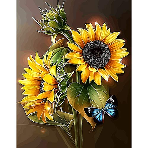 """KOSE Diamond Painting Kits for Adults DIY 5D Round Full Drill Crystal Rhinestone Diamond Embroidery Paintings on Canvas Arts Craft for Home Wall Decor-14""""W X 18""""L Sunflowers with Butterfly"""