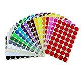 Rund Punkt Aufkleber,25mm Aufkleber Bunte Punkte Farbige Farbkodierung Etiketten für Heimbüroartikel 16 Farben