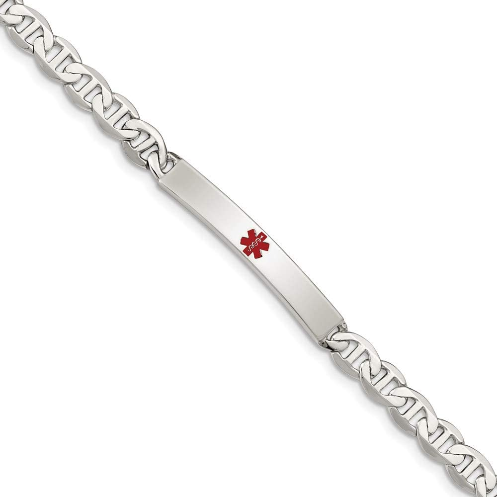 Sterling Silver Polished Medical Anchor Bracelet 5 7.5in ID Link Max Ultra-Cheap Deals 63% OFF