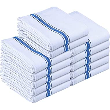 Utopia Towels Kitchen Towels (12 Pack) - Dish Towels, Machine Washable Cotton White Kitchen Dishcloths, Bar Towels & Tea Towels (15 x 25 Inch) (Blue)