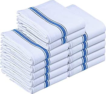 Utopia Towels 12 Pack Dish Towels - Reusable Kitchen Towels -15 x 25 Inches Ultra Soft Cotton Dish Cloths - Super Absorbent Cleaning Cloths Blue