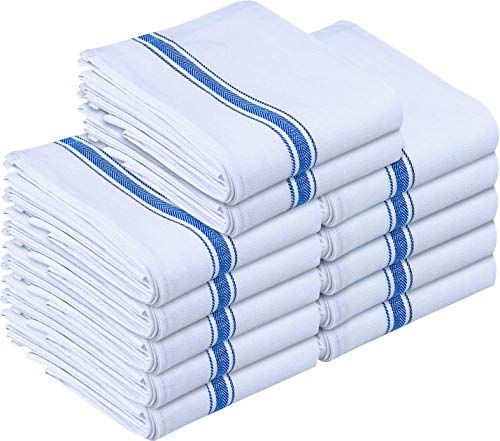 Utopia Towels 12 Pack Dish Towels - Resuable Kitchen Towels -15 x 25 Inches Ultra Soft Cotton Dish Cloths - Super Absorbent Cleaning Cloths, Blue