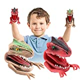 Crazy Dinosaur Finger Puppets 2pc Soft Bath Role Playing Toys Party Supplies Birthday Gift for Kids and Adults Great Party Favors