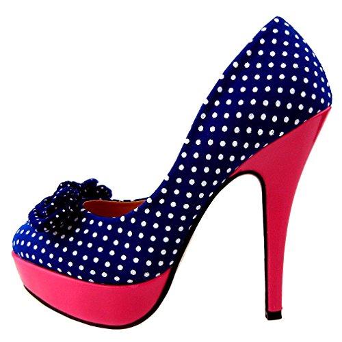 SHOW STORY Gaga Blue White Polka Dots Bow Pink High Heel Platform Stiletto Party Pumps,LF30426BU41,10US,Blue