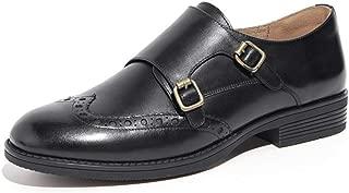Zapatos de Piel para Mujer, Informales, Vintage, con Doble Hebilla, cómodos, con Parte Superior Baja