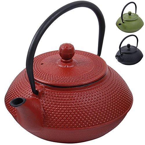 Deuba Teekessel Gusseisen 750 ml Rot Asiatische Teekanne Japanischer Stil Edelstahl Siebeinsatz Praktischer Henkel