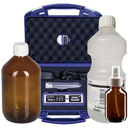 Ionic-Pulser® PRO3 Silber-Generator + Wasser + Braunglasflasche und Sprühflasche