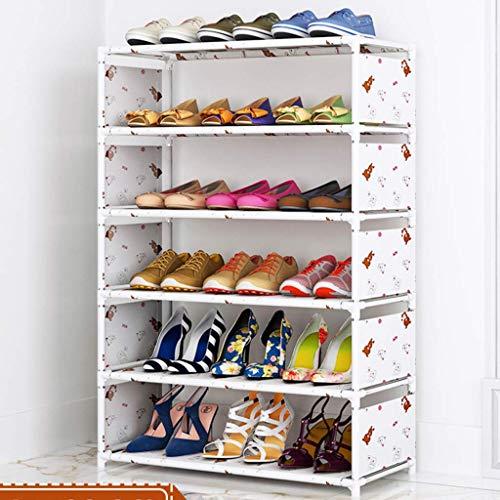 AOLI Estante para zapatos que ahorra espacio, 4 niveles Estante para zapatos duradero de metal Tela no tejida A prueba de polvo Soporte para zapatos Estante de almacenamiento estable Organizador-Púrp
