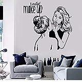 Calcomanías De Vinilo Para Pared Artista De Maquillaje Pegatinas De Pared Cosméticos Salón De Belleza Decoración Murales De Pared Tienda De Maquillaje Extraíble Carteles De Pared 42X43Cm