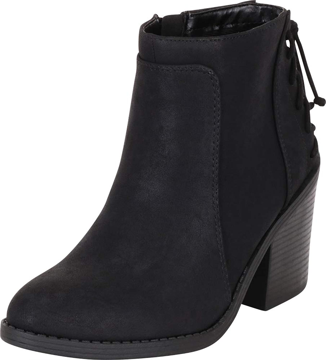 Cambridge Select Women's Back Corset Lace Chunky Stacked Heel Ankle Bootie