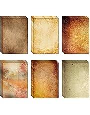 60 hojas (6 diseños, 10 de cada uno) x papel de pergamino vintage A4 de papel reciclado (80 g/m²)