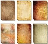 60 fogli (6 disegni, 10 per ciascuno) x A4 extra spesso (250 g/m²) carta pergamena vintage da 250 g/m²