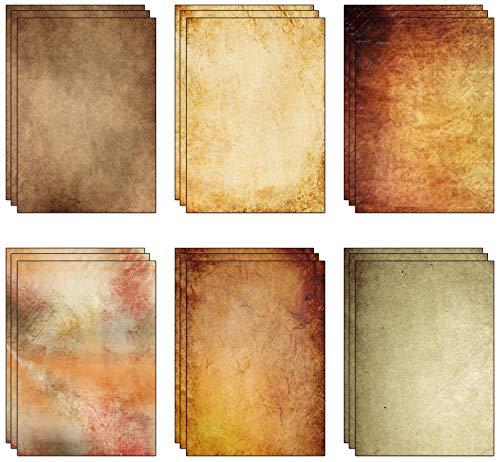 60 Blatt (6 Designs, je 10 Stück) x A4 dick (170 g/m²) Vintage-Pergamentpapier aus recyceltem Papier (170 g/m²).