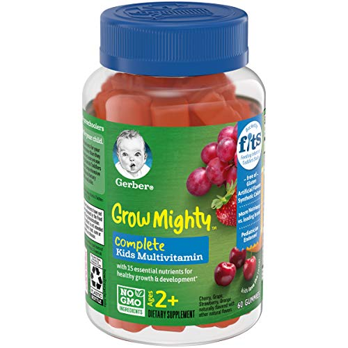Gerber Grow Mighty Complete Kids Gummy Multivitamin: Vitamins A, C, D E and B6 for Immune Health, Non-GMO, Gluten-Free, 60 Count