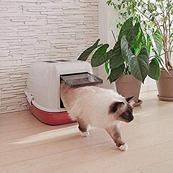 Ferplast Maison de toilette pour chats MAGIX avec tamis, grand bac, en plastique, porte basculante teintée, Bordeaux