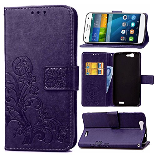 Guran® Funda de Cuero PU para Huawei Ascend G7 (5,5 Inch) Smartphone Función de Soporte con Ranura para Tarjetas Flip Case Trébol de la Suerte en Relieve Patrón Cover - Púrpura
