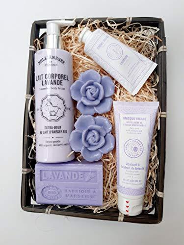 Cesta de Regalo Leche corporal de lavanda orgánica + Limpiador facial calmante + Crema de manos Jabón de Provenza orgánico Bell'Anesse