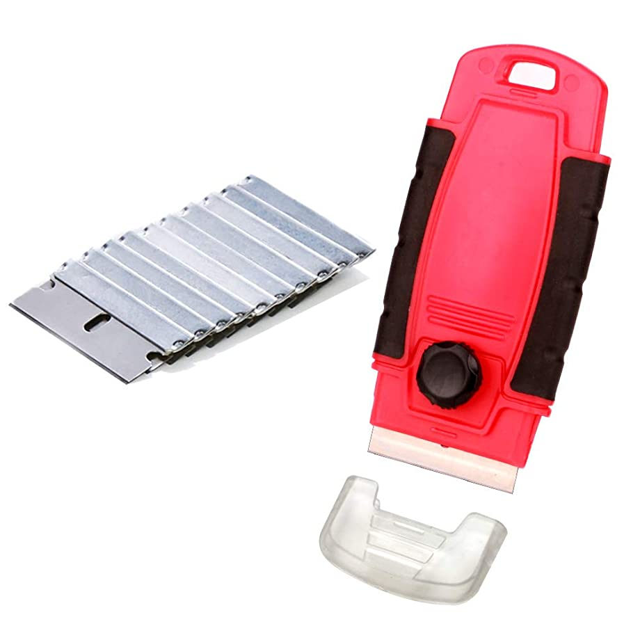 EEFUN Glass Scraper with 11pcs Carbon Steel Blades for Removing Vinyl Decals Stickers &Glue from Cars, Boats and Other Delicate Surfaces