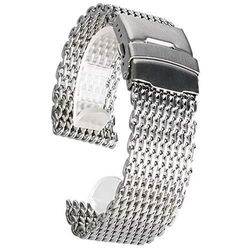 Reemplazo de la Correa de Reloj, Accesorios de Reloj 18 mm 20 mm 22 mm 24 mm Correa de Reloj de Malla Plateada Correa de Reloj de Pulsera de Acero Inoxidable Correa de Pulsera de Moda Reemplazo de 2