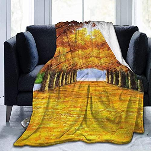 Microfleece deken Gooi deken Bamboe bedrukt Ultra zacht Lichtgewicht Gezellig Warm Microfiber Fuzzy deken voor bed Bank Woonkamer Alle seizoenen-herfst esdoorn bladeren bomen-50*40