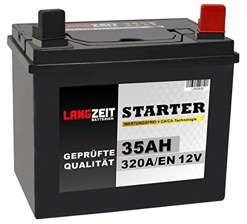 Preisvergleich Produktbild Langzeit Batterie 35Ah 12V Rasentraktor Starterbatterie Aufsitzmäher Rasenmäher Plus Pol RECHTS statt 26Ah 30Ah 32Ah