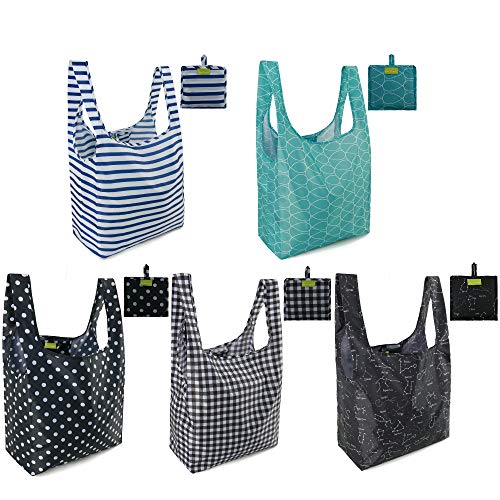 Reusable Shopping Bags Grocery Tote Bags Foldable into Attached Pouch, Ripstop Waterproof Reusable...