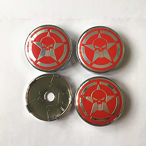 Cubierta del cubo de rueda 4 unids Skull Punisher Racing Wheels Center Hub Cap Cap de 60mm Coche Estilismo Emblema Insignia Auto Duspro de la cobertura de la calcomanía Cubierta central (Color : D)
