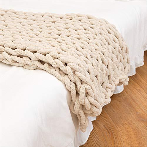 GLITZFAS Gestrickte Decke Grob Kuscheldecke Grobstrick Wolldecke Strickdecke Tagesdecke Überwurf Decke Zuhause Dekor Geschenk fürs Sofa Tagesdecke (Beige,100 * 120cm)
