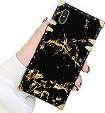 Square Case Kompatibel iPhone Xs Max Gold Schwarz Marmor Luxus Elegant Weich TPU Ganzkörper Stoßfest Schutzhülle Metall Dekoration Ecke Back Cover iPhone Xs Max Hülle 6.5 Zoll