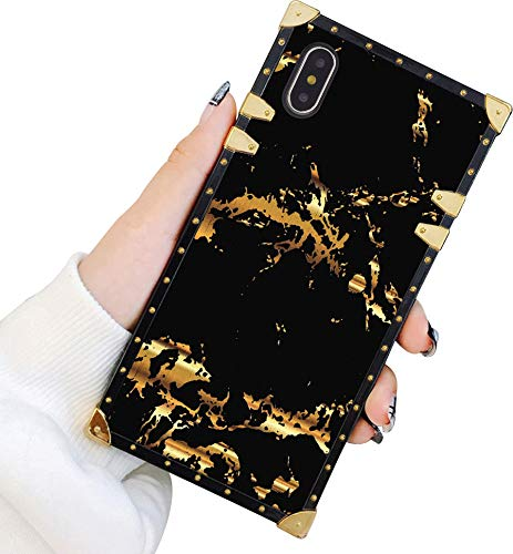Square Hülle Kompatibel iPhone Xs Max Gold Schwarz Marmor Luxus Elegant Weich TPU Ganzkörper Stoßfest Schutzhülle Metall Dekoration Ecke Back Cover iPhone Xs Max Hülle 6.5 Zoll