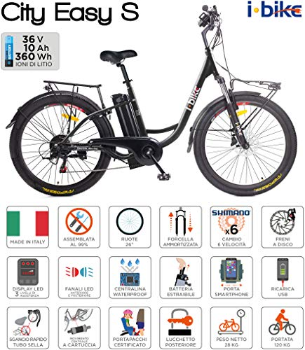 i-Bike City Easy S ITA99, Bicicletta elettrica a pedalata assistita Unisex Adulto, Nero, 46 cm