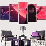 MXYXD Stampe e Quadri su Tela 5 Pezzi,Akame Ga Kill Anime Creativo Modulare Arte della Parete Soggiorno Poster Moderno Decorazioni per La Casa Taglia D Nessuna Cornice