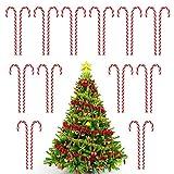 LLMZ Colgante Decoración de Navidad Bastones 24 PCS Bastones de Caramelo de Navidad Árbol de Navidad Etiqueta Bastones decoración para árbol de Navidad Bastones Navidad Boda Hogar Rayas Color Rojo y