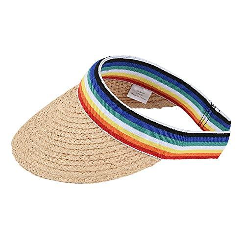 XCBHJXD Mujeres Paja Sombrero Sombrero Sombrero Mujer Verano Rainbow Rafia Vacío Top Hat Sol Protección Sol Horquillero Hombro Ocio All-Match Sun Hat 56~58 cm (Color : A)