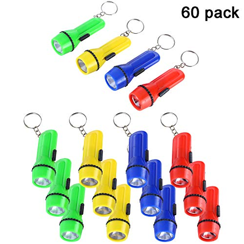 Trounistro 60 Pieces Mini Flashlight Keychain Mini LED Flashlight Set Assorted 4 Colors Portable Flashlights Ideal for Camping, Night Reading, Cycling, BBQ, Party, Festivals