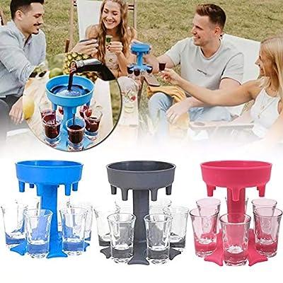 6 Shot Glass Dispenser and Holder, Bar Shot Dispenser, Cocktail Dispenser, Multiple 6 Shot Dispenser For Filling Liquids, Carrier Liquor Dispenser Drinking Tool (Pink)