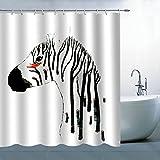 BCNEW Zebra Duschvorhang Dekor weiß schwarz Baumstumpf roter Vogel kreativ Tier dekorativer Badezimmervorhang Polyesterstoff maschinenwaschbar mit Haken 177 x 178 cm