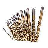 SPRINGHUA 13pcs / set Mini metal brocas de metal HSS punta de titanio recubierto torcedura Broca conjunto for trabajar la madera plástica Broca Conjunto 1.5-6.5mm