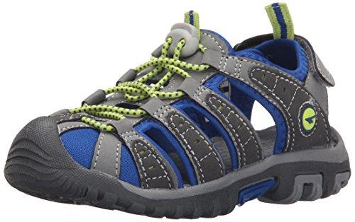 Hi-Tec Shore JR Water Shoe (Little Kid/Big Kid), Grey/Cobalt/Limoncello, 4 M US Big Kid