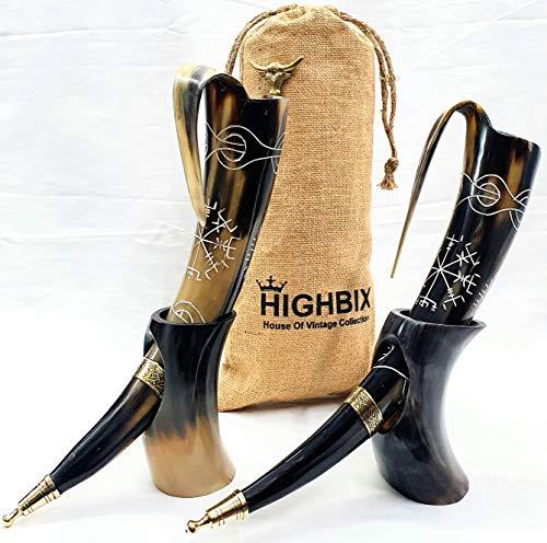 HIGHBIX Royal Viking Trinkhorn mit Ständer 2er Set Echte Handgefertigte Wikingerhorn Becher für Mead, Ale und Bier - Original Mittelalter 20oz Becher mit klassischem Jutebeutel