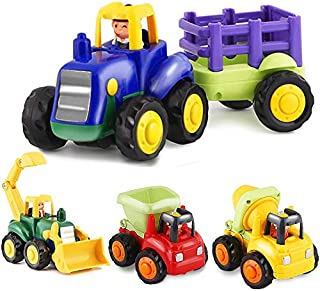 HISTOYE Toddler Toy Trucks for 1 2 3+ Year Old Boys, Friction Powered Cars for Babies, Construction Toys Set of 4 Dump Tru...
