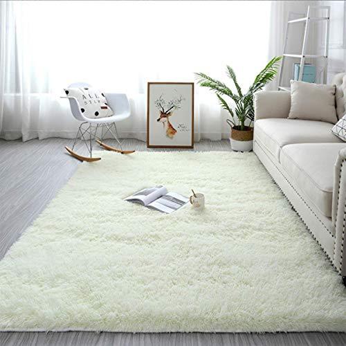輝点 ラグ カーペット ラグマット 80x120cm フロアマット モダンラグ 絨毯 マイクロファイバー 滑り止め 洗える ウォッシャブル ホットカーペット対応 長方形 (白い, 80*120cm)