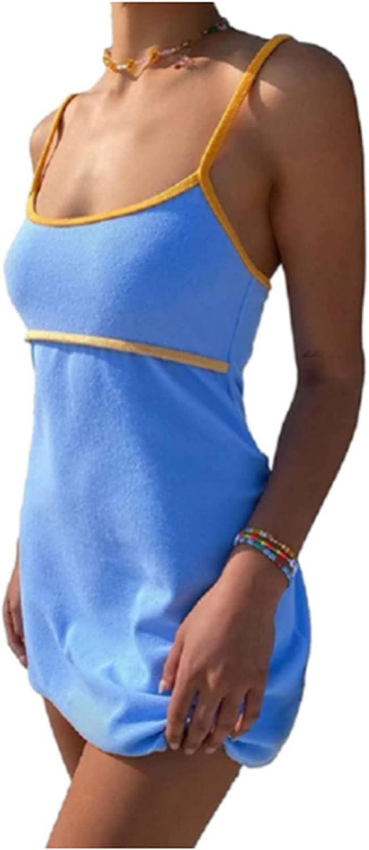Women Y2k Cami Mini Bodycon Dress Hollow Out Floral Print Sexy Stretch Clubwear V Neck Backless Halter Slit Beach Dress