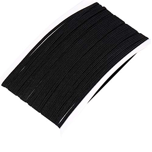 Elastic Bands for Sewing 1/4 Inch(6mm) 10 Yards,TOOVREN Flat Black Elastic Cord/Elastic Rope/Bungee/Heavy Stretch Knit Elastic String for Face Mask Earloop,DIY Sewing Crafts,Cuff,Wigs